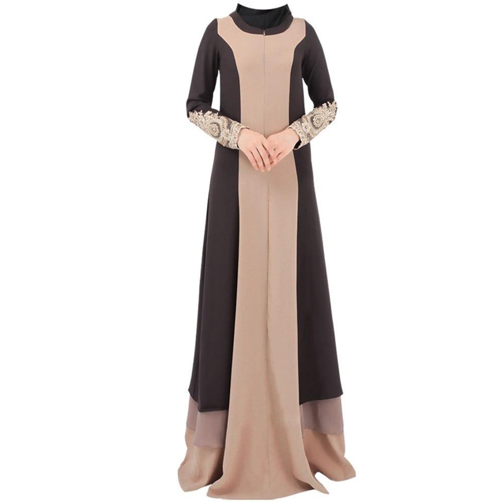 Contraste ropa islámica musulmana vestidos turcos Abayas mujer Patchwork moda Abaya Dubai Bangladesh bata vestido largo caftán