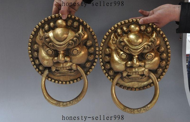 "11 ""cobre latón chino guardián Foo perro León cabeza máscara puerta golpeador de puerta pestillo"