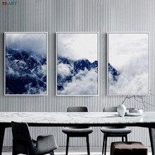 Foggy Mountain Print Indigo Forest Canvas Painting Minimalist Blue Wall Art Modern Wall Decor Nordic Decoration Decor
