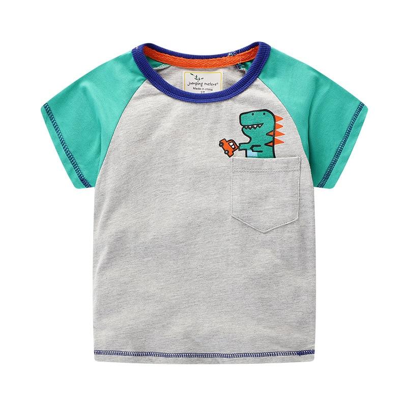 2019 nueva marca de verano 2-7 años bebé niños niñas dibujos animados dinosaurio estampado corto cuello redondo algodón de calidad camisetas Tops camisa