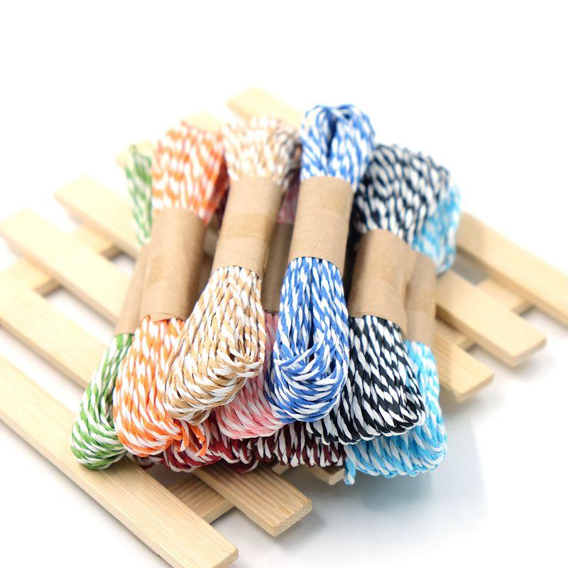 10 m/lote de cuerdas finas tejidas a mano de papel de doble trenzado de Color para embalaje de regalo Scrapbooking boda decoración de fiesta de cumpleaños