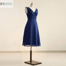 Mousseline de soie bleue a-ligne genou longueur robe de Cocktail col en v sans manches pli cristal réel/Original Photos sur mesure
