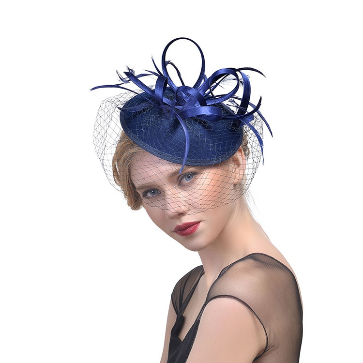 Bridal Net Feather Hats White Red Black Birdcage Net Wedding Hats Bridal Fascinator Face Veils Bride Hats Wedding Accessories