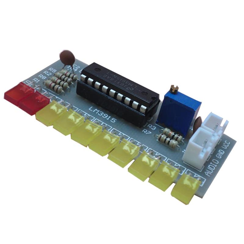 LM3915 Kit Diy de indicador de nivel de Audio 10 Led analizador de espectro de sonido de Audio Kit de indicador de nivel soldadura electrónica