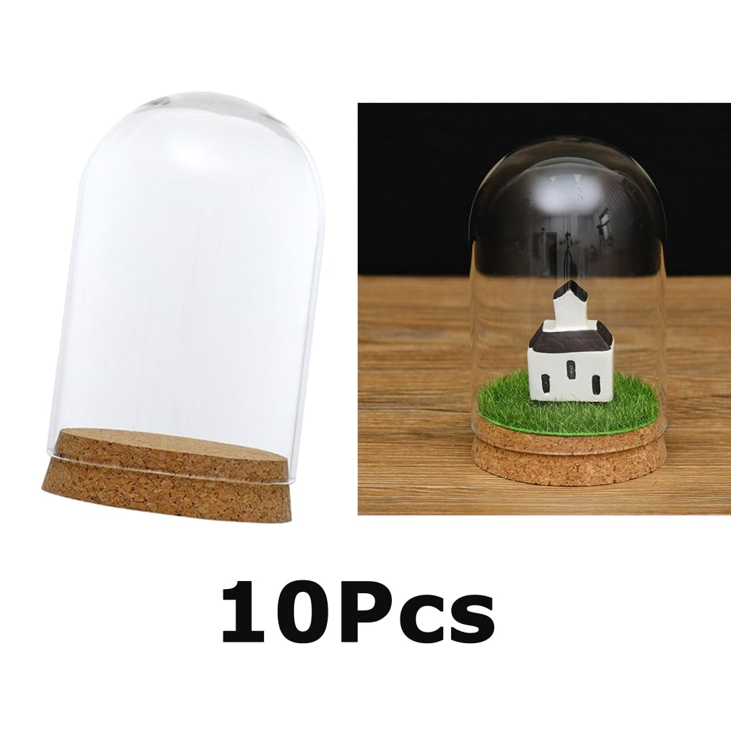 10 pçs 8x12cm cúpula de vidro capa cloche bell jar terrários com cortiça de madeira, festas de casamento decorações miniaturas artesanato