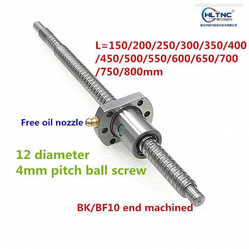 SFU1204 150, 200, 250, 300, 350, 400, 450, 500, 550, 600, 650mm C7 tornillo de bola con 1204 brida única tuerca de bola BK/BF10 mecanizada