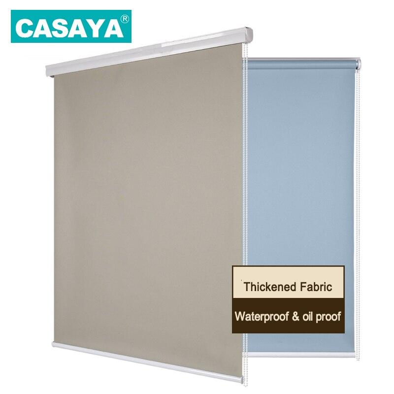 CASAYA apagón persiana impermeable de rodillo polvo cobertura con diseño fácil de limpiar tela cocina persianas de ventana