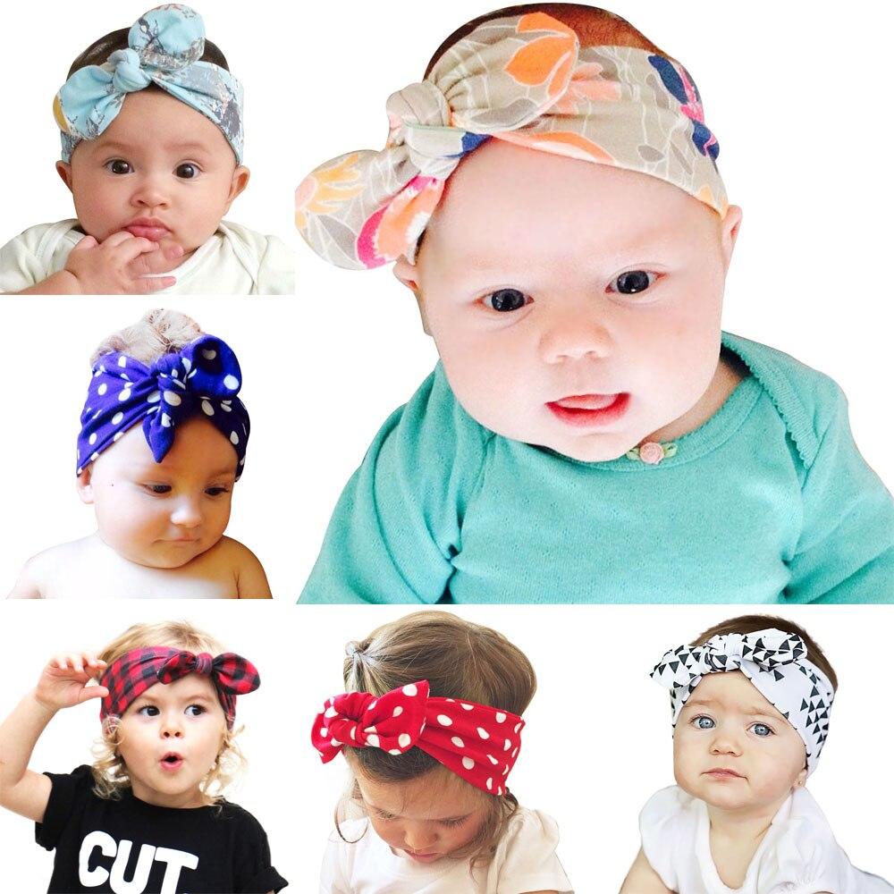 6 piezas Venta caliente niños diadema bebé niñas Orejas de conejo diadema turbante nudo diadema flor Niña diademas