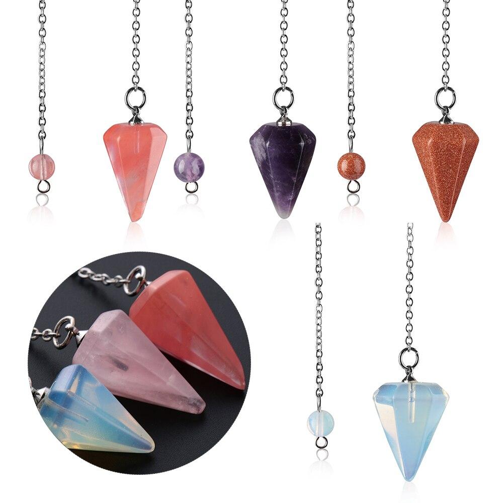 Reiki маятниковая подвеска с целебным кристаллом, шестиугольная пирамида, натуральный камень, модные ювелирные изделия для мужчин и женщин, м...