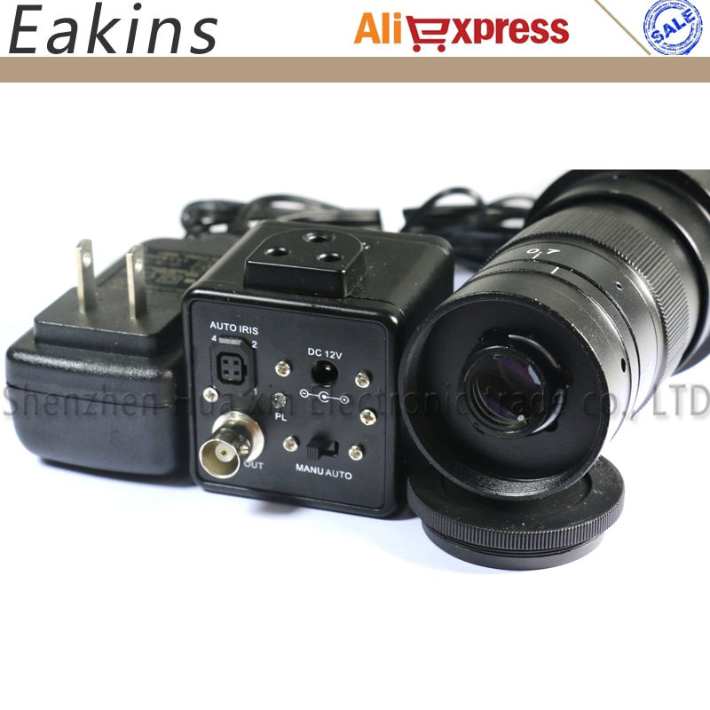 1/3 pulgadas 800TVL Industrial CCD Cámara BNC salida Digital microscopio Cámara Auto IRIS + 180X Zoom lente de montaje en C