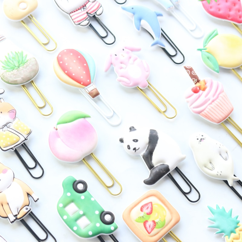 Domikee lindo creativo de oficina de metal de memorándum escolar clips de papel japonés kawaii marcador regalo suministros de papelería 2 piezas