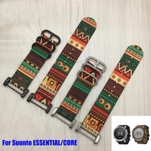 Nouveauté bracelet de montre en nylon pour bracelet de montre Suunto Core 24MM bracelet de montre souple noir + boucle en acier inoxydable + adaptateurs PVD + barres de vissage