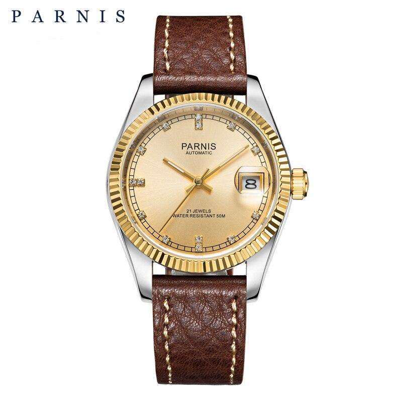 Элегантные королевские Мужские механические часы Parnis, 35 мм, 21 драгоценность, Sapphire, Кожаные Ремешки для наручных часов, Автоматическая Дата, ...