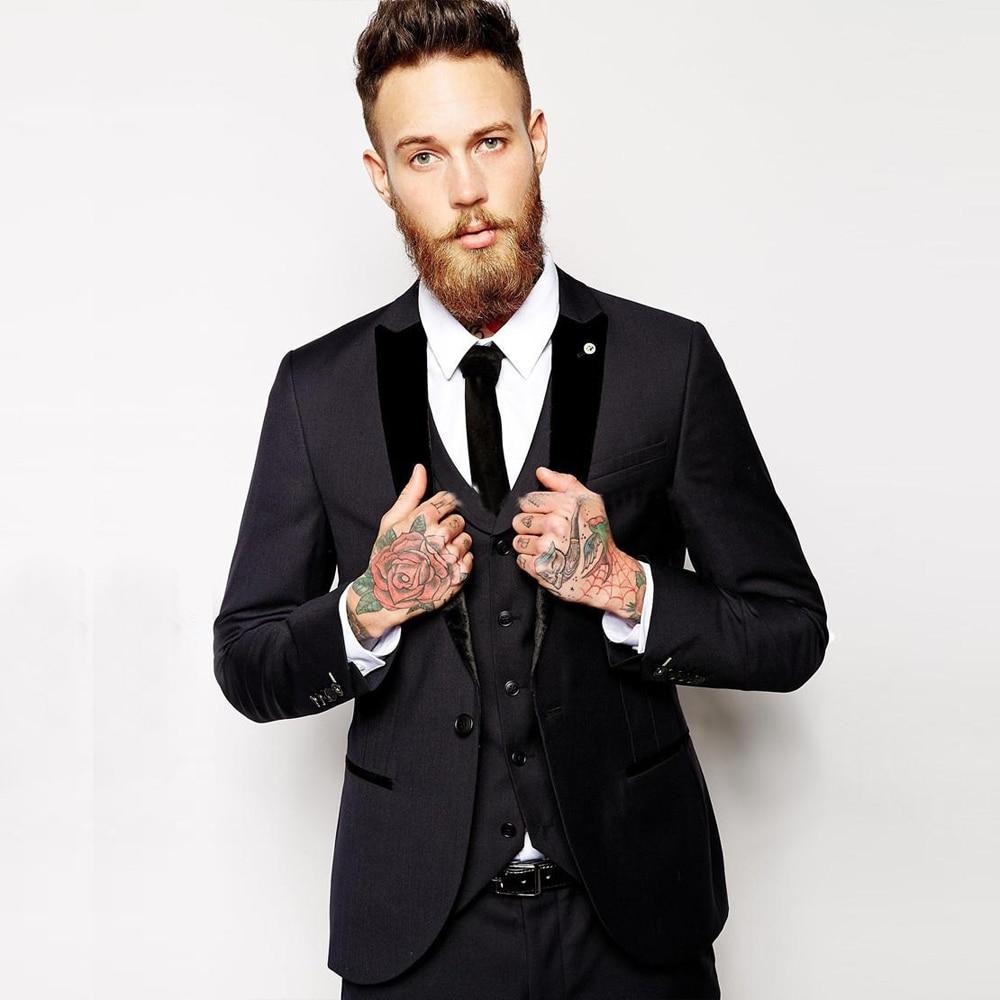 موضة أسود زر واحد بدل رجالي بدلة العريس الذروة التلبيب رجال العريس أفضل رجل بدلة زفاف لحفلات التخرج (سترة + بنطلون + سترة + ربطة عنق)