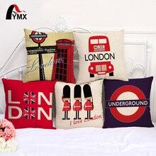 "FYMX 18"" British Style Cotton and Linen Sofa Pillowcase London Car Logo car Cushion Cover Pillow Cases Wholesale"