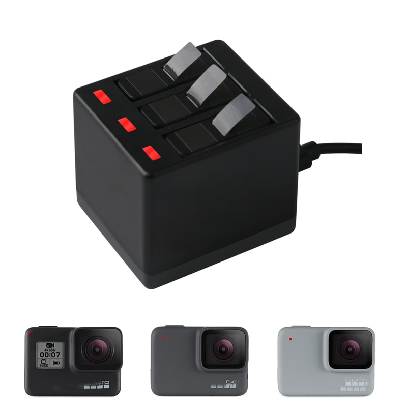 Nuevo cargador de batería Hero 8 de 3 vías caja de carga LED funda de transporte carcasa de batería para GoPro Hero 8 7 Hero 6 5 Accesorios Negros