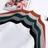 jvzkass 2019 new autumn and winter half high collar pullover womens long sleeved versatile slim tight sweater z258