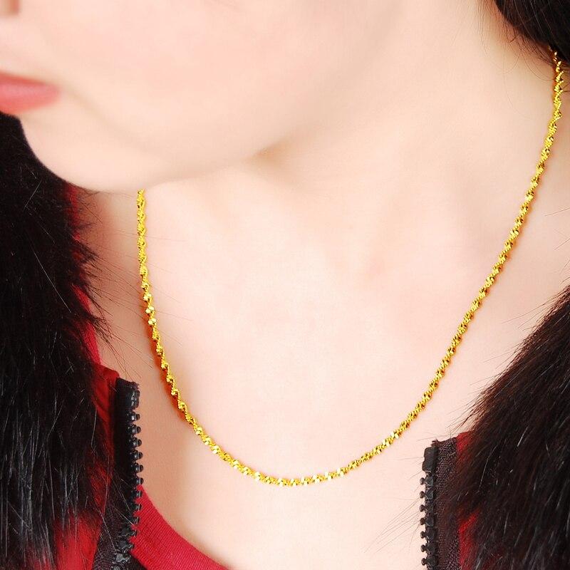 Hurtownie wysokiej jakości 24 k złota powlekania galwanicznego produktów płaskich fal wody łańcuch naszyjnik dla mężczyzn kobiety luksusowe biżuteria akcesoria Hiphop Party ozdoba