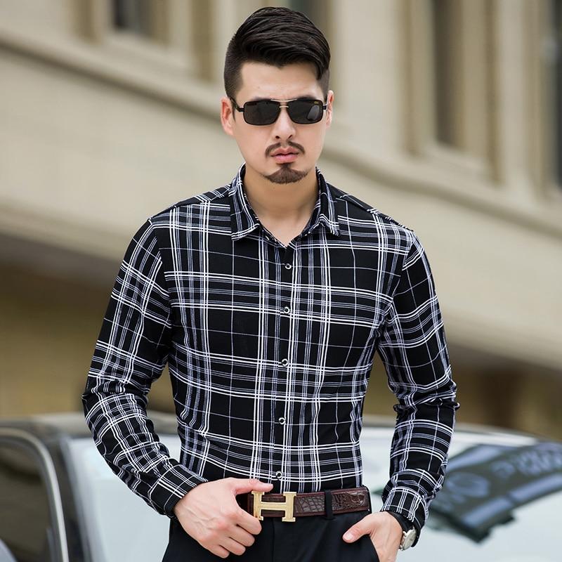 new arrival mens cotton shirts casual plus size 7xl men business long sleeve plaid shirt