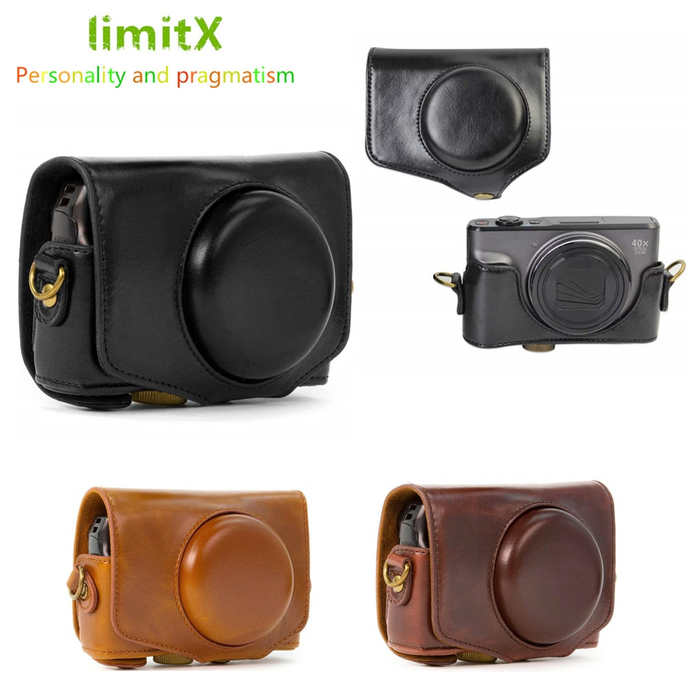 Funda rígida Retro de cuero PU para cámara con correa para cámara Digital Canon Powershot SX740 HS SX730 HS SX720 HS
