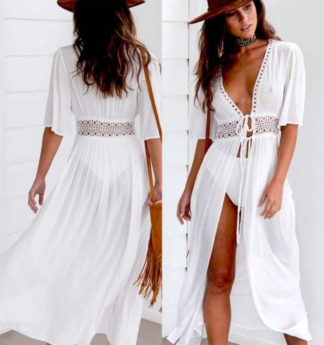 Women's Beach Bikini Cover up Long Kaftan dress Summer Boho Maxi Dress Swimwear