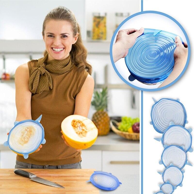6 pçs/pçs/set tampas de silicone durável reutilizável alimentos salvar cobrir resistência ao calor se encaixa todos os tamanhos e formas de recipientes