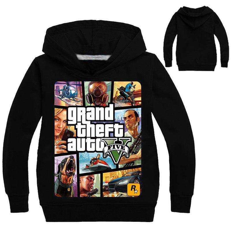 2019 NEW GTA 5 3-13Y Boys Girls Hoodie For Kids Hot Sale Famous Brand Comfortable Sweatshirt Tees Game Shirt Kids Teen Clothing