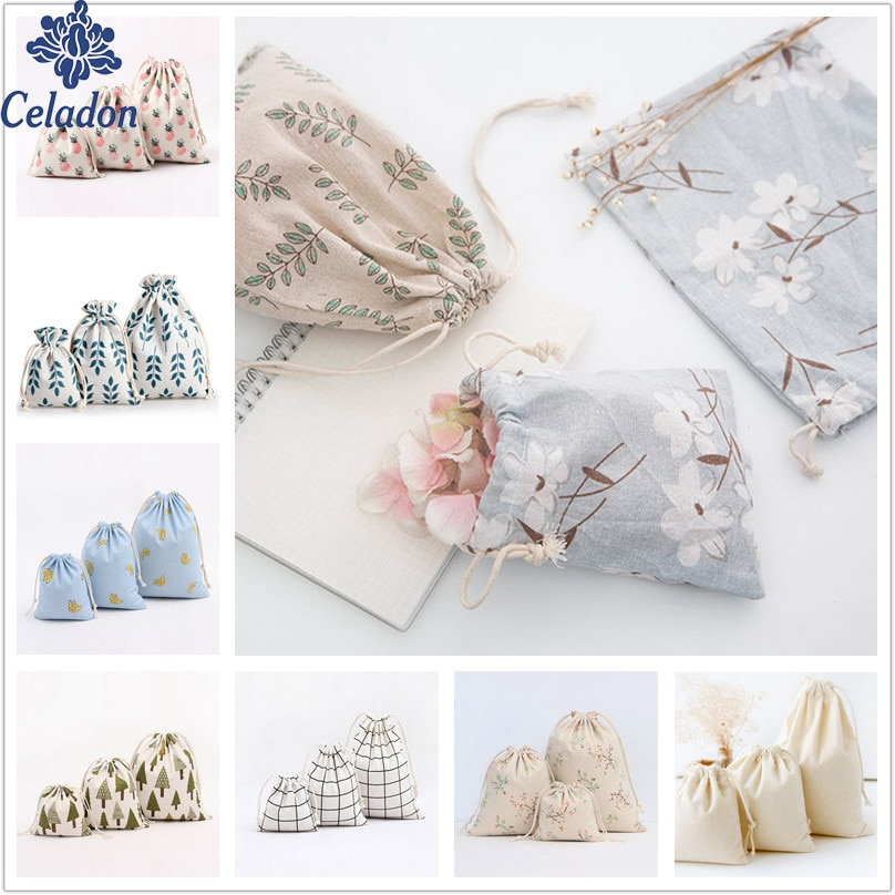1pcs Flower Tree Pattern Drawstring Cotton Linen Storage Bag Sunglass Jewelry Organizer Makeup Cosmetic Coins keys Bags