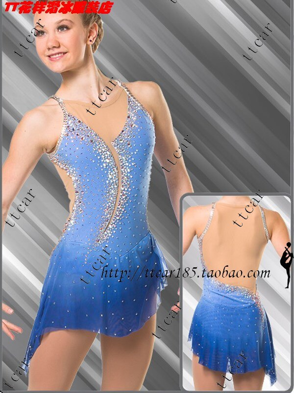 women skating suit competition ice skating dress for women blue ice skating clothing beautiful hot sale clothes for skating
