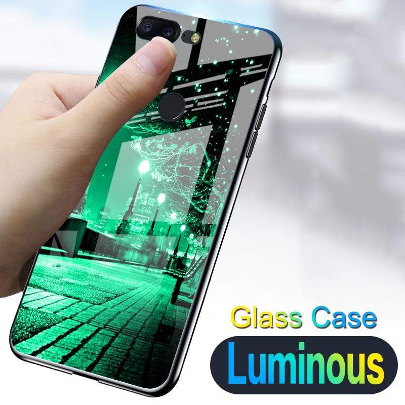 Noite estrelada brilho caso de luxo para oneplus 5 um plus 5 vidro temperado luminosa silicone capa para oneplus 5 t 5 t
