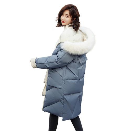 2018 winter fashion hooded long solid color fur collar detachable cotton coat