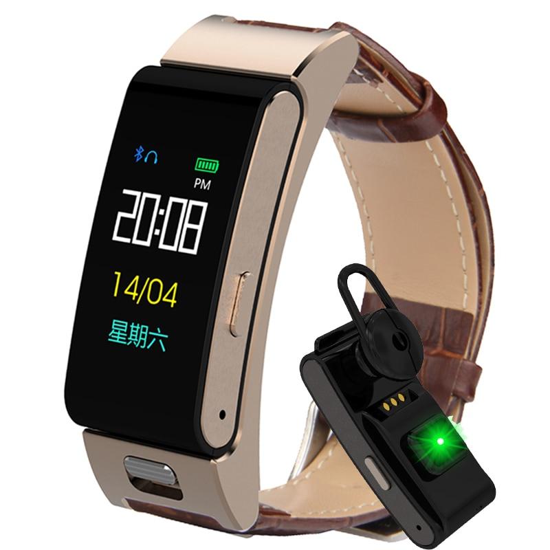 Reloj inteligente A9S con pantalla a Color para hombre y mujer, frecuencia cardíaca, presión arterial, deportes, correa de cuero, auriculares Bluetooth, llamada, reloj inteligente de Fitness