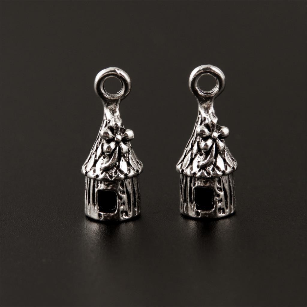 20szt kolor srebrny domek Charms dom wisiorek budynek na wyrób biżuterii bransoletka naszyjniki rękodzieło 20x8mm A164