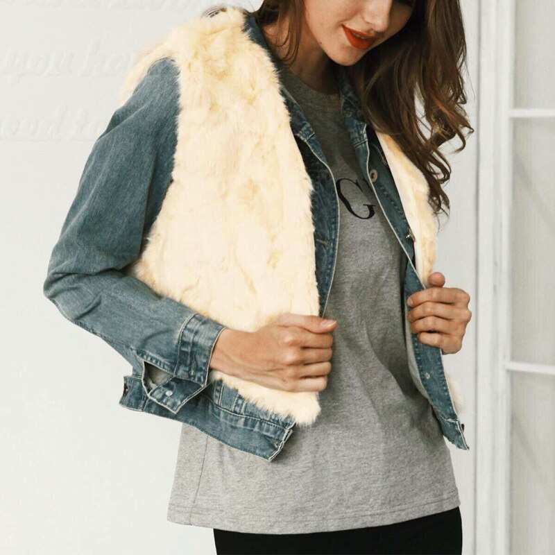 Faux Fur Vest Jackets Coat Women Ladies Artificial Fur Waistcoat Solid Sleeveless Autumn Winter Outerwear Black Beige 7Q1212