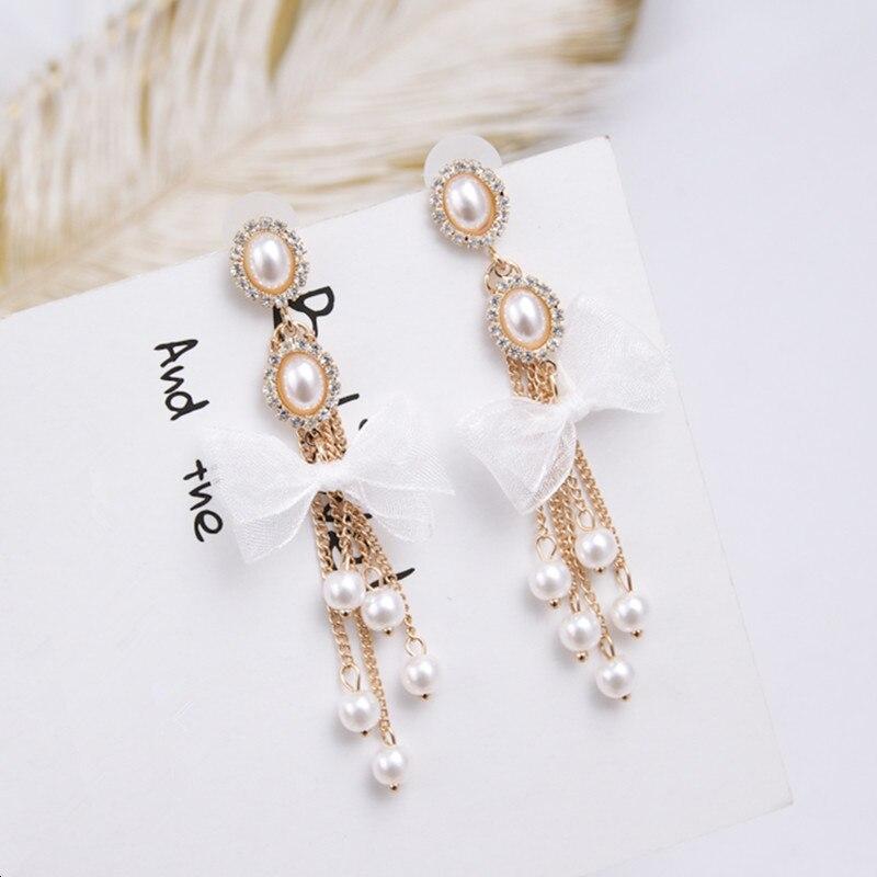 Fashion Cute White Bowknot Long Chain Tassel Charm Simulated Pearl Pendant Drop Earrings Korean Elegant Jewelry For Women 6A3010