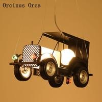 Retro-industrial style automobile chandelier dining room boys bedroom children's room lamp creative LED iron pendant lamp