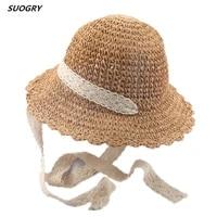 parent child handmade summer lace ribbon sun hat ladies straw panama hat wide brimmed beach sun hat foldable hollow straw hat