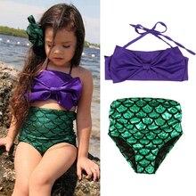 Girls Swimwear Mermaid Cute Baby Bikini Sets Children Bathing Suit Girls Suspender Tops+ Shorts Kids Swimsuits Beach Wear