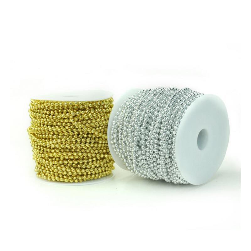 Redjck 20 metros 4 mm pérolas contas cadeias de fio corda de algodão contas diy material para festa de casamento decoração de suspensão de natal