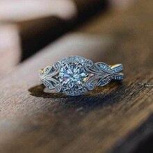 Huitan cubique zircon bague de mariage pour mariée classique Solitaire argent plaqué feuille bande breloques accessoires femmes bijoux anneau