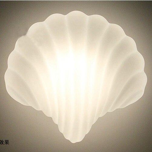 Lámpara de pared de concha de cristal, lámpara de pared de concha blanca, candelabro creativo, lámpara de pared, accesorio E27, portalámparas 40W 110V 220V