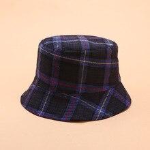 Chapeau en coton à carreaux Double face   Chapeau de pêcheur, chapeau de voyage en plein air, casquette de soleil, chapeaux pour femmes 04