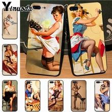 Yinuoda PinUp filles Pin Up fille de luxe mode 2D étui de téléphone pour iPhone 7plus X 6 6S 7 8 8Plus 5S 11pro étui