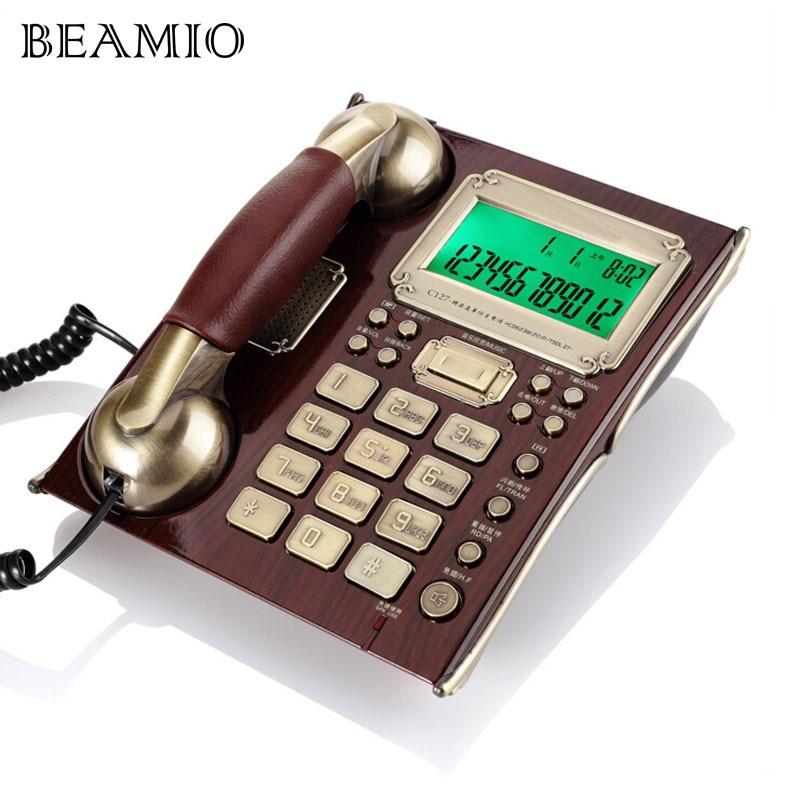 هاتف ثابت عتيق ، طراز أوروبي عتيق ، مع سماعة رأس من الجلد ، مع معرف مكالمة ، بدون استخدام اليدين ، لون بني ، للعمل والمكتب والمنزل