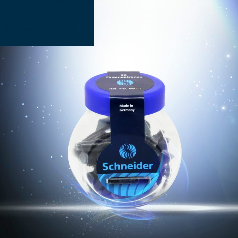 30 unids/lote alemán Schneider desechable azul/negro/azul negro pluma estilográfica recargas de cartuchos de tinta contenedor de tinta estándar para bolígrafo