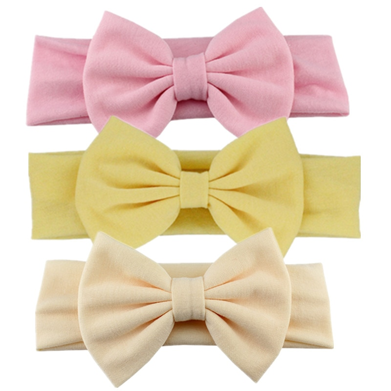 2019 New Arrival Turban Popular Hair Bow Headband For Girls Headwrap Textured Fabric Elastic Kids DI