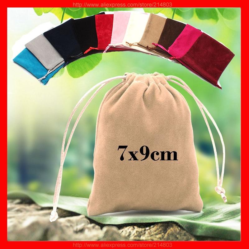 (100pcs/lot) size 8x10cm high quality gift drawstring velvet bag with logo printed