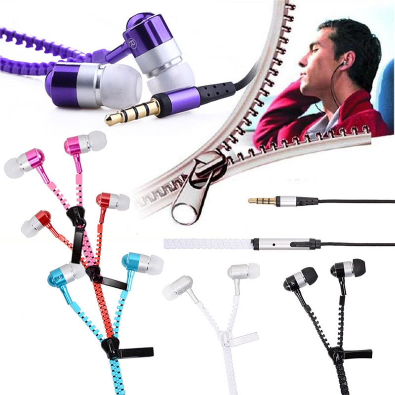 Auriculares con cremallera, intrauditivos de 3,5mm con micrófono y cable, auriculares para teléfono, auriculares manos libres para todos los teléfonos móviles