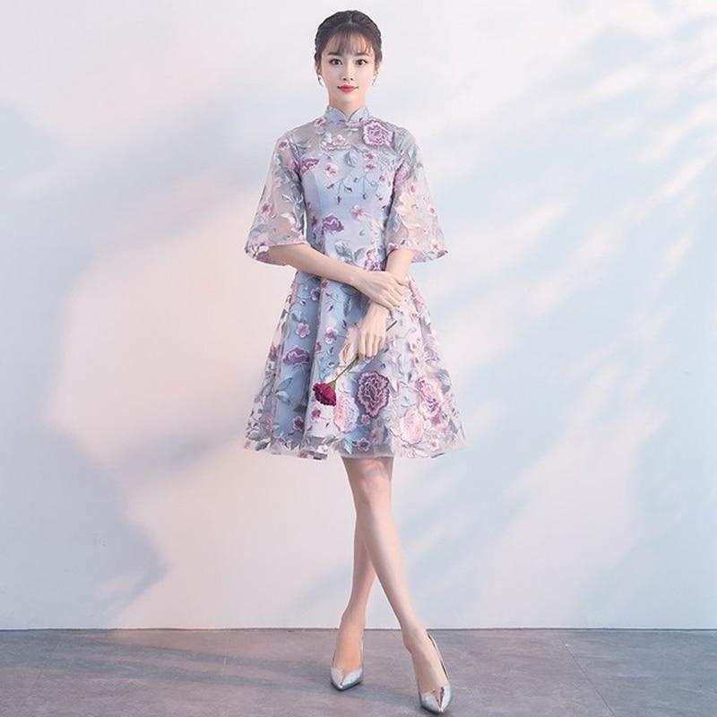 فستان صيني تقليدي أنيق تشيباو السيدات فساتين سهرة خمر شيونغسام المرأة العروس قصيرة الدانتيل شيونغسام فستان حديث
