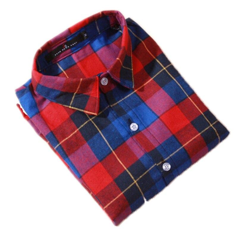 Blusa camisa feminina xadrez camisa 100% algodão manga comprida blusa topos moda 2020 camisa roupas baratas china inverno outono roupas